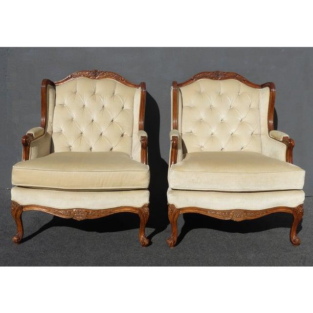 Pair of Bernhardt Tufted Wing Back Velvet Chairs - Image 4 of 11