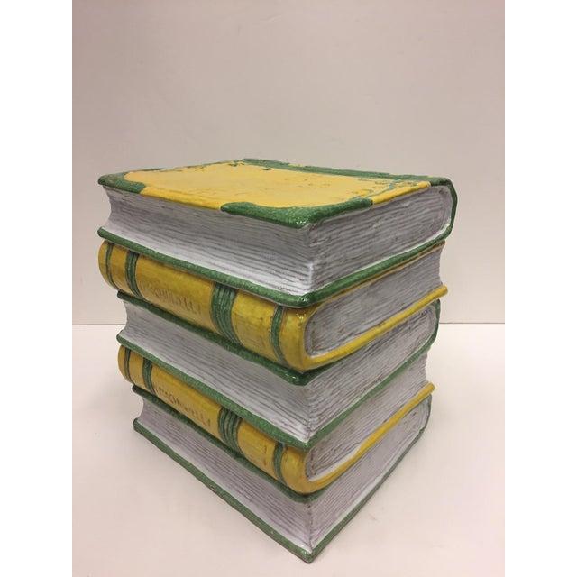 Tromp l'Oeil Stack of Books Glazed Terracotta Italian Side Table Garden Seat For Sale In Philadelphia - Image 6 of 10
