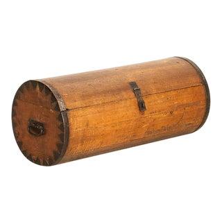 Antique Pine Cylinder Shaped Travel Trunk For Sale