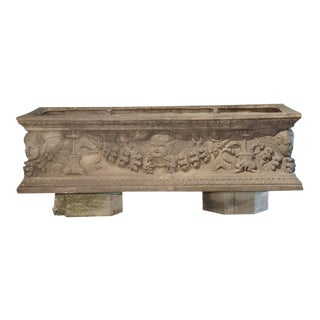 Antique Italian Terra Cotta Planter With Winged Cherubs and Garlands For Sale