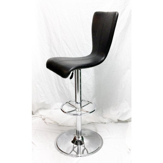 Black & Chrome Ostrich Stool - Image 4 of 6