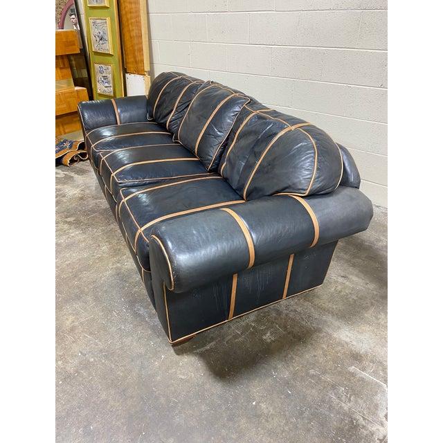 English Michael Thomas Onyx Leather Sofa For Sale - Image 3 of 13