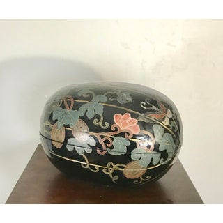 Vintage Chinoiserie Black Lacquer Painted Wooden Egg Box With Pumpkins and Butterflies Preview