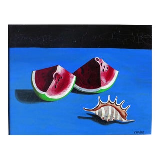 Surrealist Edward Lupper Oil Painting of Red Melon Slices For Sale