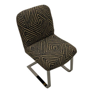 Knoll Mid-Century Modern Chrome Side Chair With Geometric Upholstery For Sale