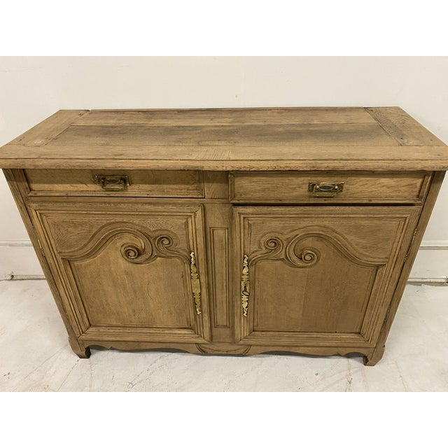 Brown Antique Buffet Provencal Louis XV Style Bleached Walnut Wood For Sale - Image 8 of 8