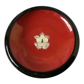 Korean Historical Black Red Lacquer Mop Us Navy Tillamook Lease Presentation Bowl For Sale