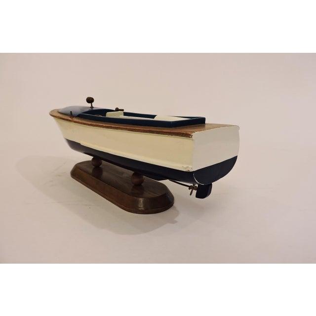 Americana Blue Wooden Model Pleasure Boat For Sale - Image 3 of 7