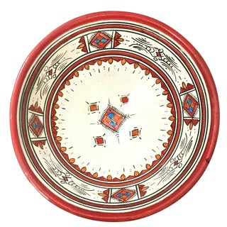 Moroccan Hand-Painted Medium Red Ceramic Bowl For Sale