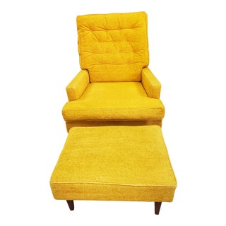 Vintage SIde Chair and Ottoman For Sale