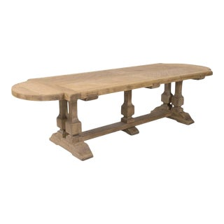 Large Antique French Normandy Bleached Oak Monastery Trestle Table For Sale
