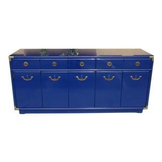 Mid-Century Modern Drexel Royal High Gloss Blue 5-Drawer Sideboard