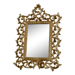 1960s Vintage Gold Table Mirror For Sale