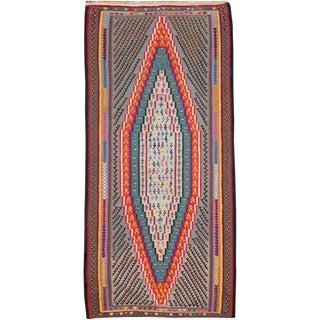 "Vintage Persian Flatweave Kilim Rug – Size: 3' 10"" X 8"" For Sale"
