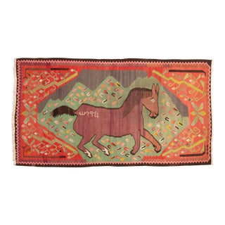 "Traditional Colorful Pictorial Donkey Wool Kilim Rug-4'3x7'10"" For Sale"