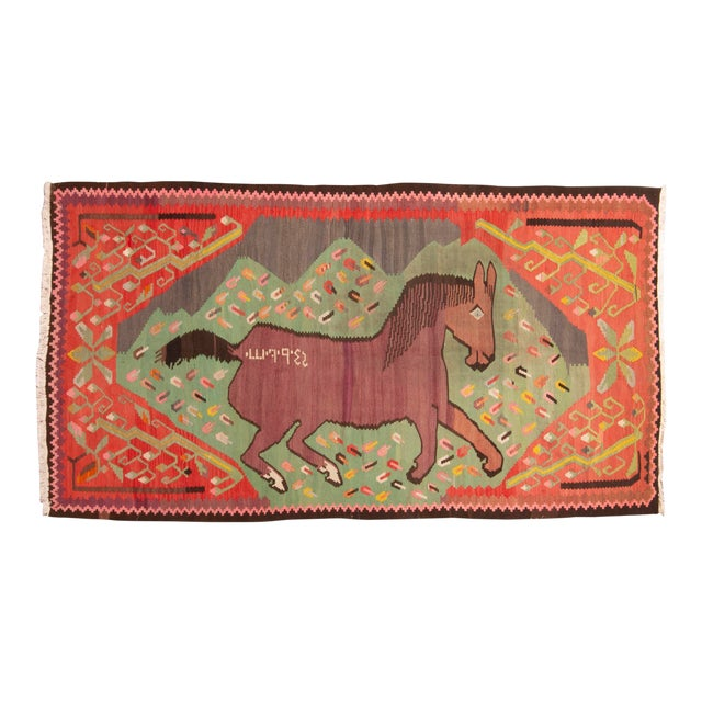 """Traditional Colorful Pictorial Donkey Wool Kilim Rug-4'3x7'10"""" For Sale"""
