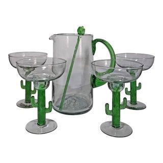 Mexican Blown Glass Saguaro Cactus Margarita Set- 6 Pieces For Sale