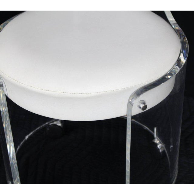 Mid 20th Century Round Bent Lucite Upholstered Bench Stool on Wheels For Sale - Image 5 of 10