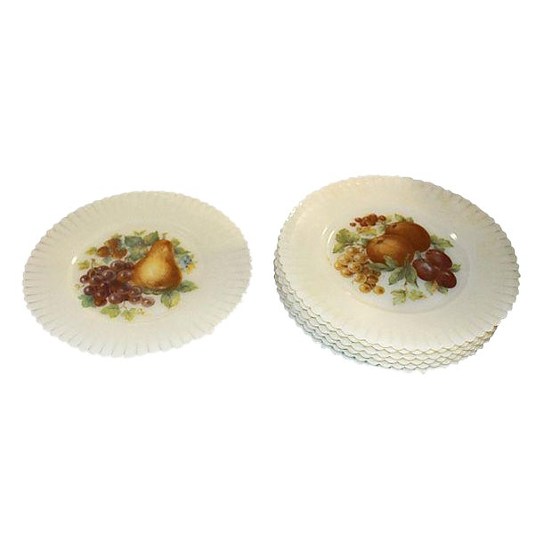 Vaseline Glass Fruit Plates, Set of 6 For Sale