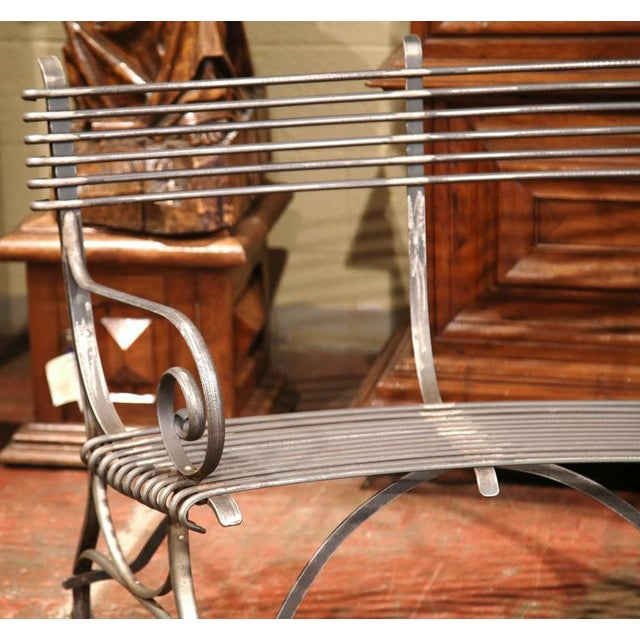 French French Polished Iron Hoof Foot Curved Bench Signed Sauveur Arras For Sale - Image 3 of 10