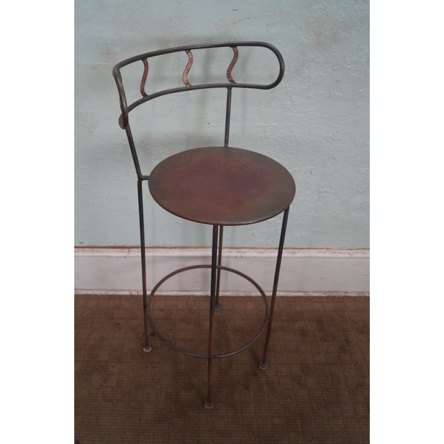 Vintage Distressed Industrial Metal Bar Stools For Sale - Image 5 of 7