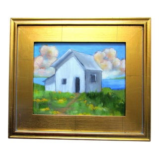 Lynne French Framed California North Coast Cottage Plein Air Painting For Sale