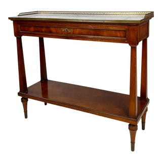 French Style Vintage Marble Top Credenza Console Table For Sale