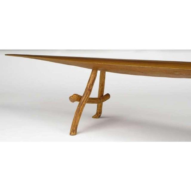 1950s Adirondack Style Natural Wood Surf Board Coffee Table For Sale - Image 5 of 8
