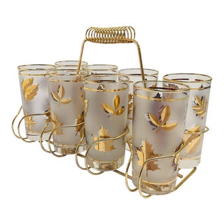 Vintage Black and Gold Highball Glasses in Brass Cart by Fred Press - 9 Pc. Set For Sale