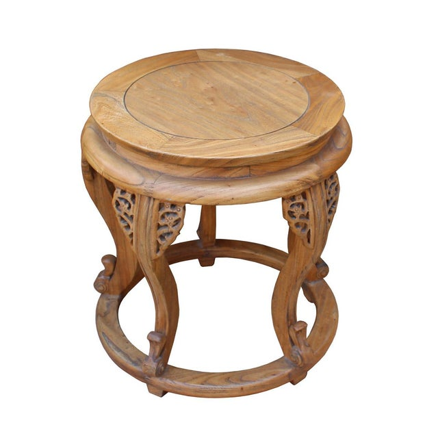 Chinese Round Curved Legs Wood Stool Table For Sale - Image 5 of 6