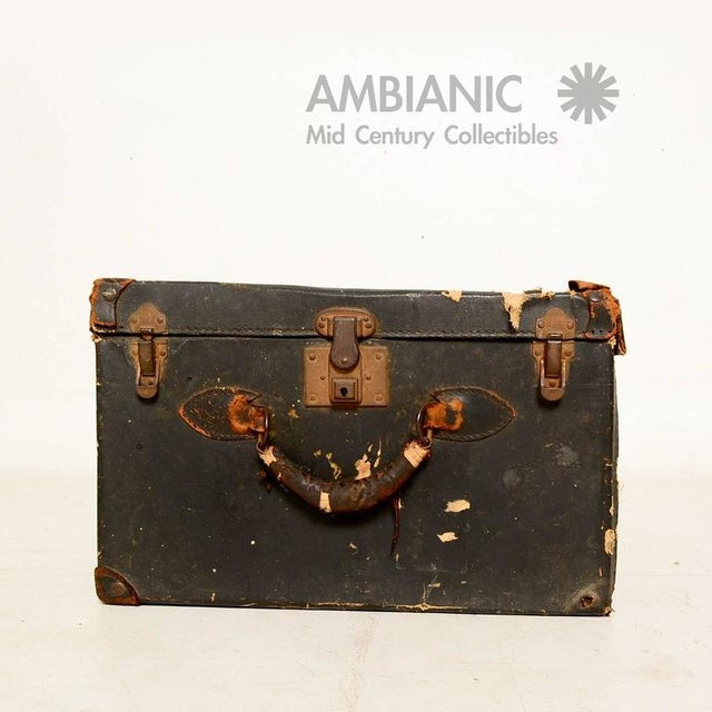 Black Canvas Travel Case / Box With Leather Handle For Sale In San Diego - Image 6 of 10