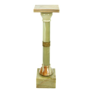 Late 19th Century Antique Green Onyx Marble & Bronze Pedestal For Sale