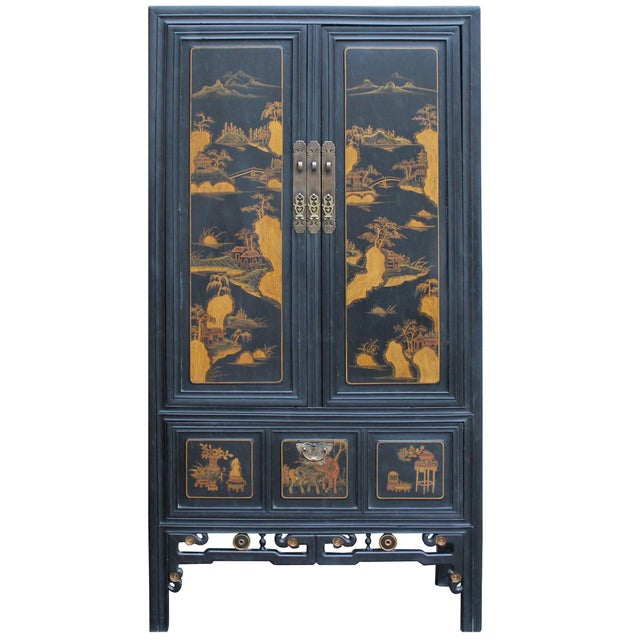 Black Chinese Fujian Golden Mountian Water Graphic Tall Armoire Cabinet For Sale - Image 8 of 10