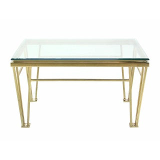 Hollywood Regency Geometric Frame Rectangular Brass Side Table With Glass Top Preview