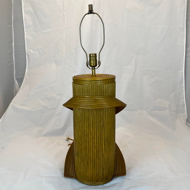 Boho Chic Vintage Gabriella Crespi Style Reeded Rattan Sculptural Table Lamp For Sale - Image 3 of 13