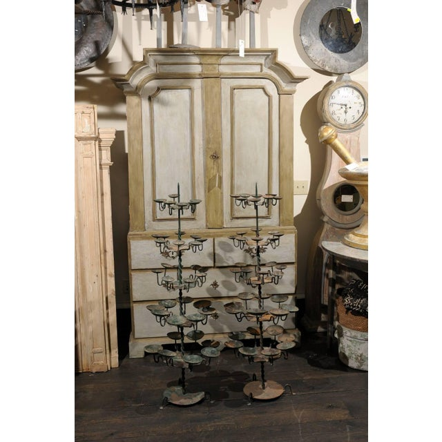 Metal 19th Century Spanish Iron Candle Trees With Green Color - a Pair For Sale - Image 7 of 8