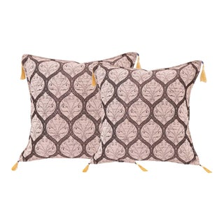 Boho Chic Turkish Trellis Chenille Ivory Silver Pillows - a Pair For Sale