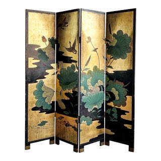 1950s Vintage Gold Chinese Room Divider For Sale