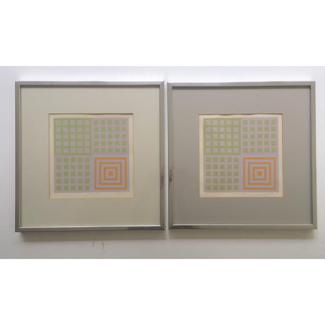70's Geometric Abstract Silkscreens - A Pair - Image 2 of 8