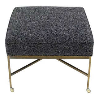 Vintage Mid Century Solid Brass X Base Ottoman For Sale