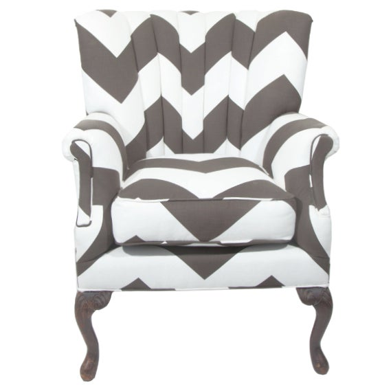 Vintage Umber & White Channeled Chair - Image 1 of 3