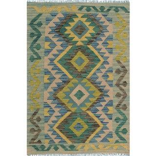 Contemporary Kilim Arya Audra Gray/Blue Wool Rug (2'6 X 4'3)
