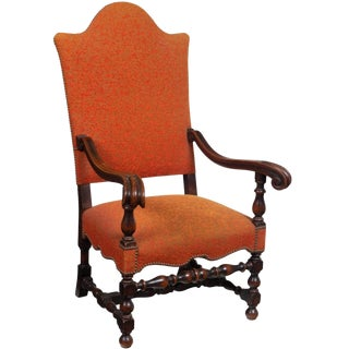 1920s Spanish Baroque Style Carved Wood Fauteuil Chair For Sale