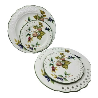 """Vintage """"Tiffany"""" Ceramic Dinnerware By, Brunelli, Italy 2 Salad Plates 2 Chop Plates - Set of 4 For Sale"""