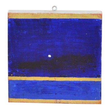 Arne L. Hansen Small Blue and Gold Painting For Sale