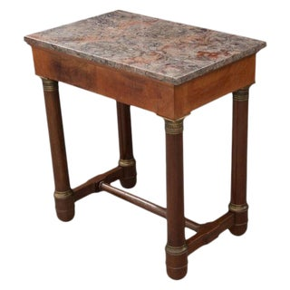 Early 20th Century French Empire Mahogany Marble Top Table For Sale