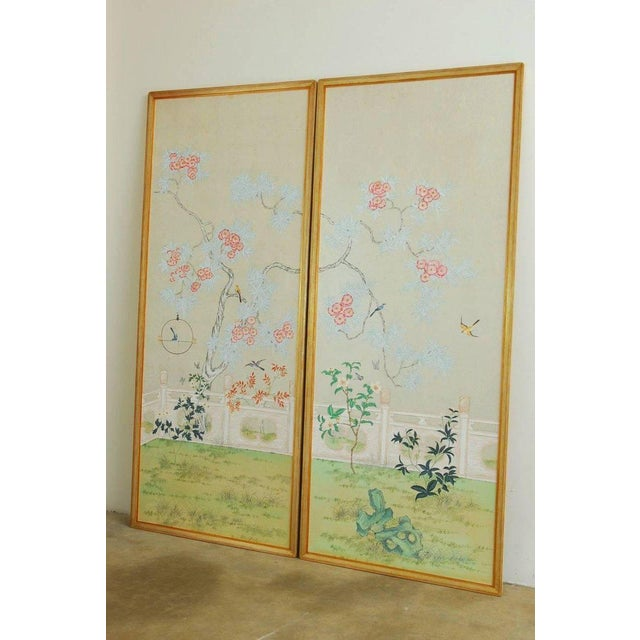 Asian Chinoiserie Flora and Fauna Painted Panels by Robert Crowder For Sale - Image 3 of