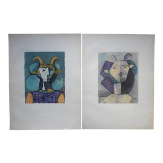 Vintage Abstract Mid 20th Century Picasso Lithographs-From Verve Art Journal-A Pair For Sale
