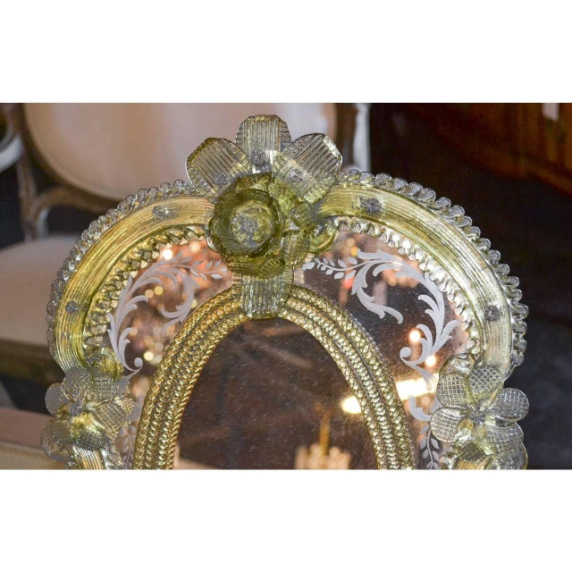 Incredible pair of Venetian matched table mirrors with easel type stands on the back, circa 1920. Measure: 19 inches...