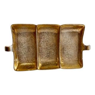 Vintage Pottery Gold Leaf Divided Platter For Sale
